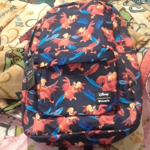 NWT Disney Loungefly Iago Print Nylon Backpack